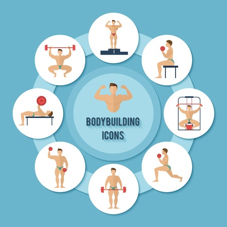 Bodybuilding sport and fitness muscle training decorative paper icons set vector illustration