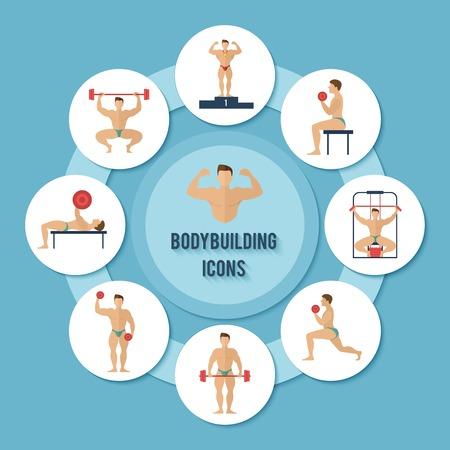 Bodybuilding sport e formazione muscolare idoneità decorativi carta icons set illustrazione vettoriale Archivio Fotografico - 35430509