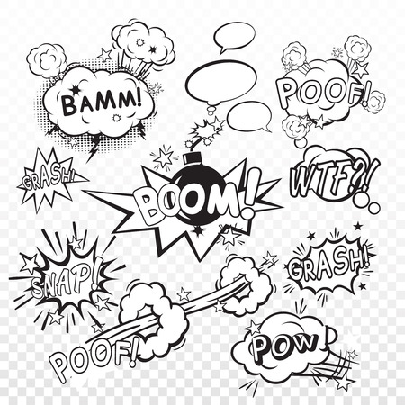 snaps: Comic black speech bubbles in pop art style with bomb cartoon explosion snap boom poof text set vector illustration Illustration
