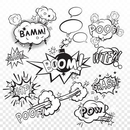 Comic zwarte tekstballonnen in pop art stijl met cartoon bomexplosie snap boom poef tekst set vector illustratie