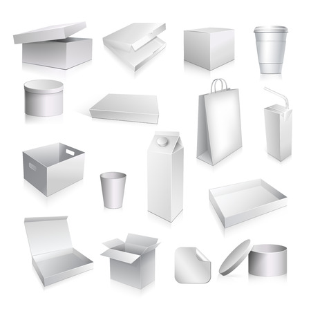 Packaging set with paper cup carton containers and boxes blank isolated vector illustration Vectores
