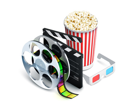 movie theater: Cinema concept with movie theatre elements set of film reel clapperboard popcorn 3d glasses realistic vector illustration