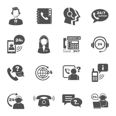 contact person: Contact us 24h support global worldwide information service black  icons set with  helpdesk operator vector isolated illustration