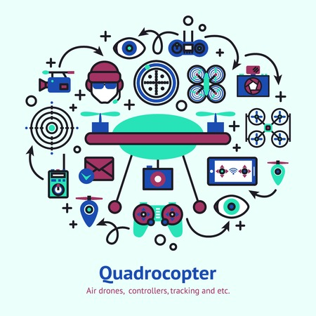 spy camera: Drone design concept with unmanned spy camera quadrocopter decorative icons vector illustration Illustration