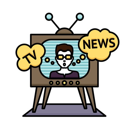 anchorman: Television news poster with anchorman journalist reporter in tv vector illustration