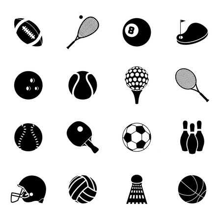 activities: Outdoor recreation sport activities accessories black silhouette icons set with basketball rugby balls abstract isolated vector illustration Illustration