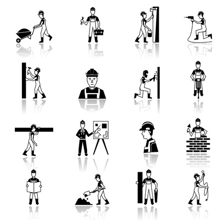 building brick: Construction worker cartoon character building brick wall with trowel black silhouette icons set abstract isolated vector illustration