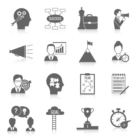 Coaching business teamwork partnership and collaboration training system icon black set isolated vector illustration Çizim