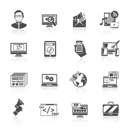 contextual: Software seo marketing en Internet ilustraci�n vectorial aislado icono optimizaci�n conjunto negro