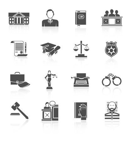 tribunal: Law court and criminal symbols icon black set isolated vector illustration