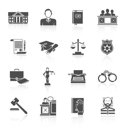prosecutor: Legge corte e simboli criminali icona nera set isolato illustrazione vettoriale