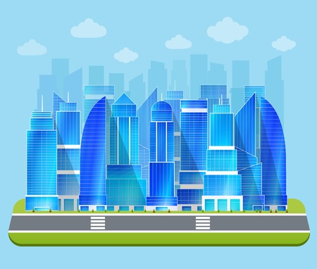 edifice: Modern residential urban business district buildings and industrial edifice cityscape architectural sketch drawing blue print vector illustration