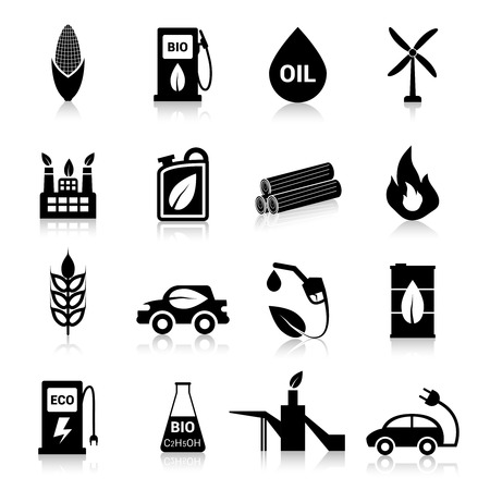 bio fuel: Bio fuel eco battery and energy icons black set isolated vector illustration Illustration