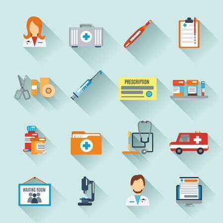 pacientes: Médico conjunto de iconos con los especialistas médicos instrumentos de primeros auxilios aislado ilustración vectorial Vectores