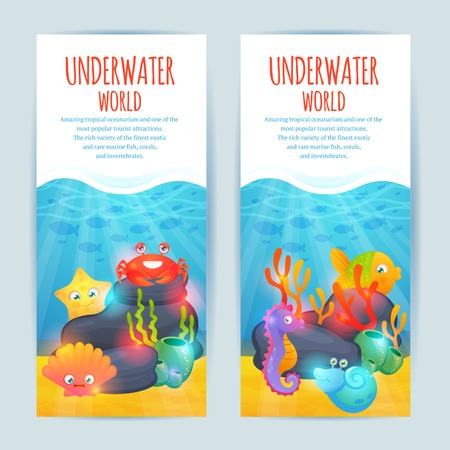 seaweeds: Tropical oceanarium funny sea animals vertical banners set with crab seaweeds and starfish abstract isolated vector illustration