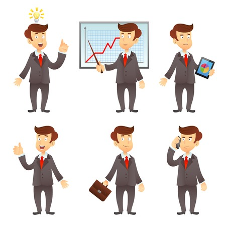 project manager: Formally dressed  businessman  project manager cartoon character flat icons set with graphic diagram presentation isolated vector illustration