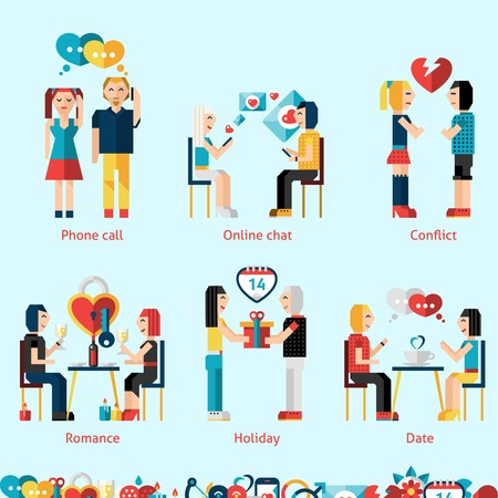 dating and romance: Relationship concepts set with phone call online chat conflict romance holiday dating vector illustration Illustration