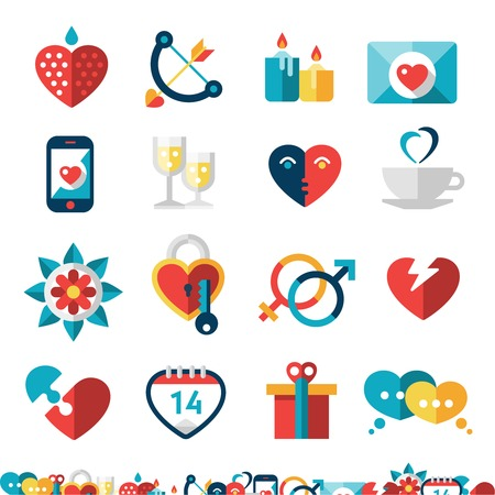 courtship: Dating decorative icons set with heart champagne love gift isolated vector illustration