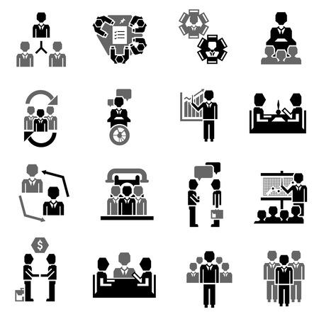 Treffen Symbol schwarz Set mit Job Partnerschaft Corporate Training Elemente isoliert Vektor-Illustration