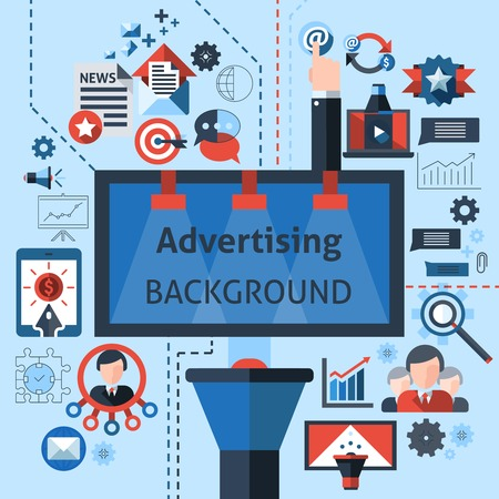 Advertising marketing background with statistics and monitoring charts vector illustration Vector