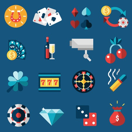 casino machine: Casino game of fortune gambling and roulette icons set isolated vector illustration Illustration