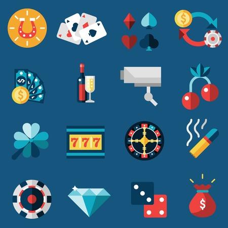 ruleta casino: Juego de casino de juegos de azar y la ruleta de la fortuna iconos conjunto aislado ilustraci�n vectorial