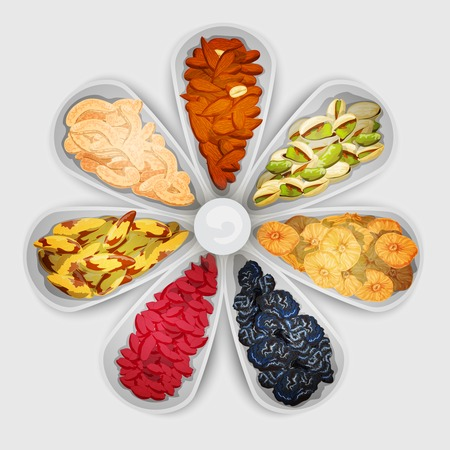 pistachio: Nuts and dried fruit raw food assorted in bowls vector illustration Illustration