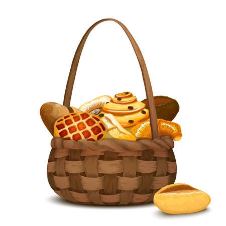 shopping baskets: Fresh bakery and bread in traditional handmade hamper basket vector illustration