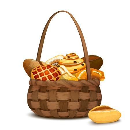 canestro basket: Panificio fresco e pane nel tradizionale mano cesta illustrazione vettoriale cesto Vettoriali