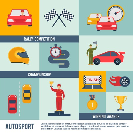 sports winner: Auto sport flat icon set with rally competition championship winner awards elements isolated vector illustration