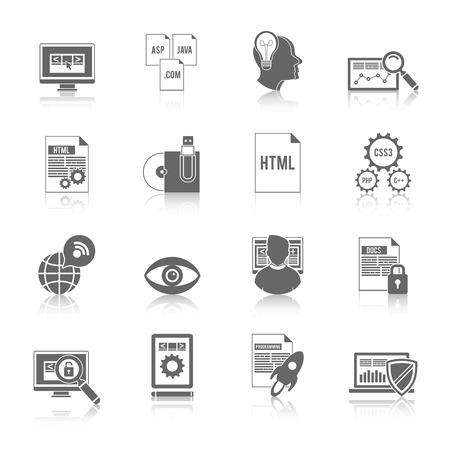 computer programmer: Programmer icon black set with software development coding symbols isolated vector illustration Illustration