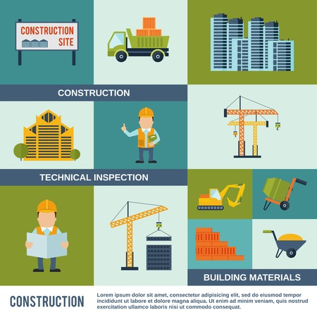 concrete construction: Construction icons flat set with technical inspection building materials elements isolated vector illustration