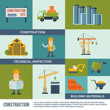 inspeccion: Iconos de la construcci�n plana establecen con materiales de construcci�n de inspecci�n t�cnica elementos aislados ilustraci�n vectorial