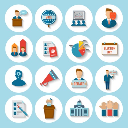 election debate: Election president voting debate icon flat set isolated vector illustration
