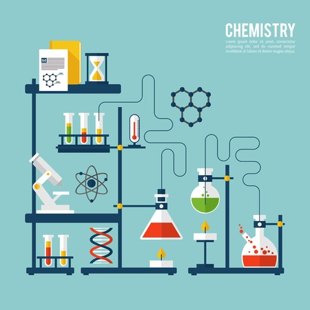 caution chemistry: Chemistry background template with microscope atom and dna structure vector illustration