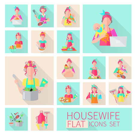 domestic chore: Housewife flat icons set with woman housework activities isolated vector illustration