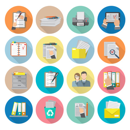 document management: Document archive catalog management documentation organizing icon flat set isolated vector illustration Illustration