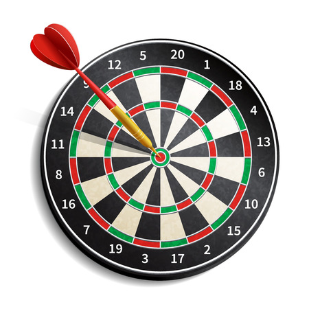 Dart board with arrow realistic isolated on white background vector illustration