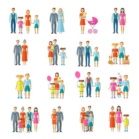 가족 아이콘은 평면 벡터 일러스트 레이 션에 고립 된 아바타 부부의 어린이와 애완 동물로 설정