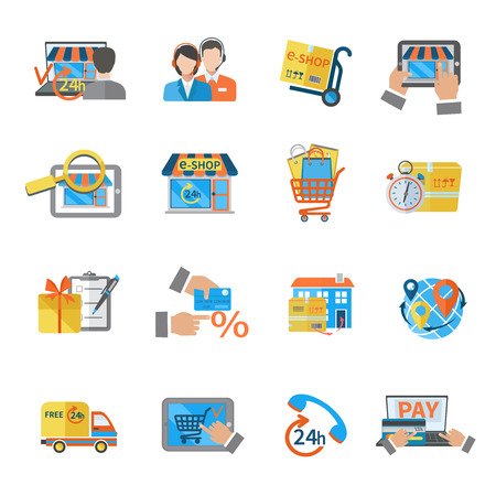 money online: Shopping e-commerce online payment customer shipping icon set isolated vector illustration Illustration