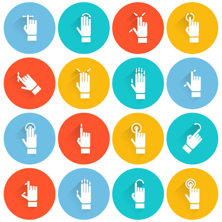 swipe: Hand touching screen wireless device flat white icon set isolated vector illustration