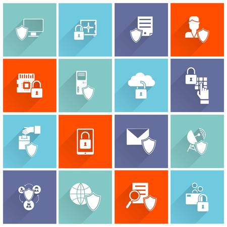 secure data: Information security cyber data protection computer network icon flat set isolated vector illustration Illustration