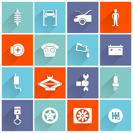 auto filter: Auto service flat icon set with car battery oil filter mechanic tools isolated vector illustration