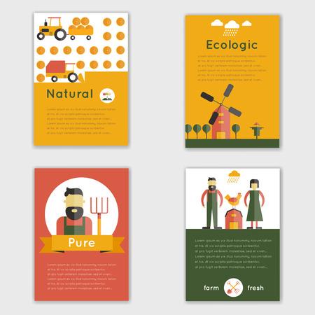 Farm fresh natural ecologic livestock animals brochure set isolated vector illustration Vector