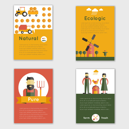 livestock: Farm fresh natural ecologic livestock animals brochure set isolated vector illustration Illustration