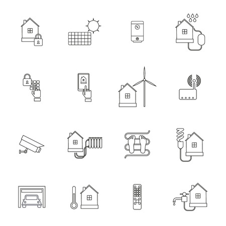 Smart home lock conditioning security system icon outline set isolated vector illustration Vector