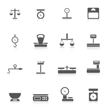 heavy load: Scales weight tools measure instruments icon black set isolated vector illustration
