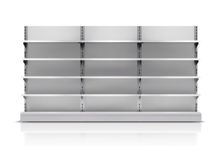 display stand: Realistic 3d empty supermarket shelf isolated on white background vector illustration