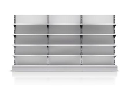 Realistische 3D lege supermarkt plank op een witte achtergrond vector illustratie