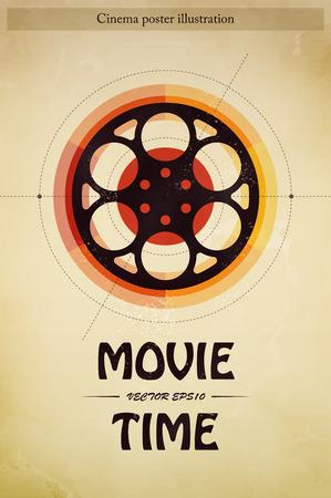 cinta de pelicula: Cine tiempo de la película cartel industria del entretenimiento con la ilustración de tira de película vector Vectores